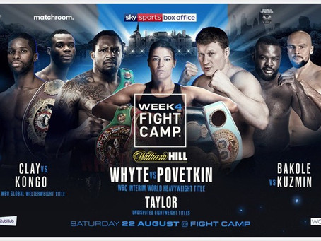 Matchroom Fight Camp's  Line-Up! All 4 nights!