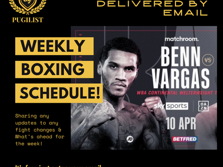 Boxing Fight Schedule Delivered directly to your Email 😉🥊