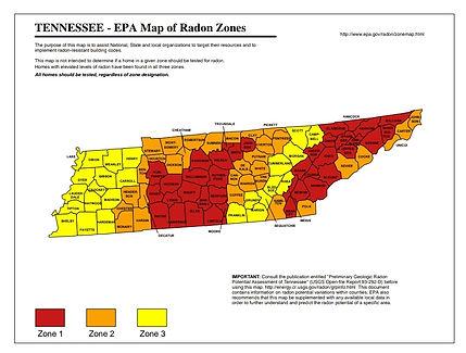 EPA Tennessee Radon Level Map