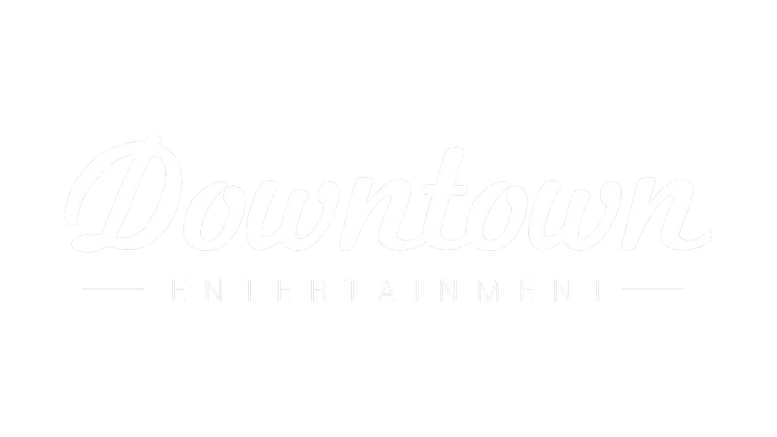 DOWNTOWN ENTERTAINMENT WHITE LOGO ON TRA
