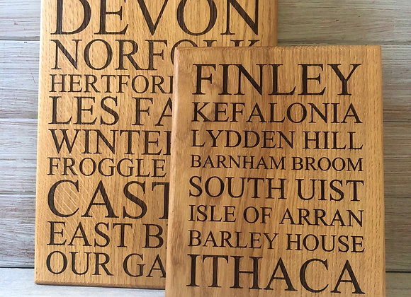 Personalised Oak Special Places Plaque