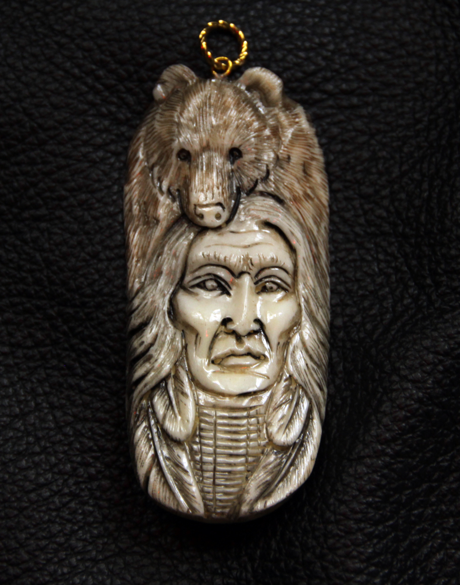 Bison bone pendant
