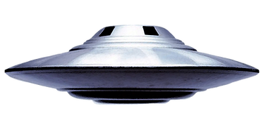 Painted image of a flying saucer.