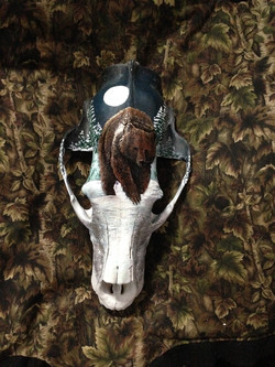 Painted Grizzly Skull