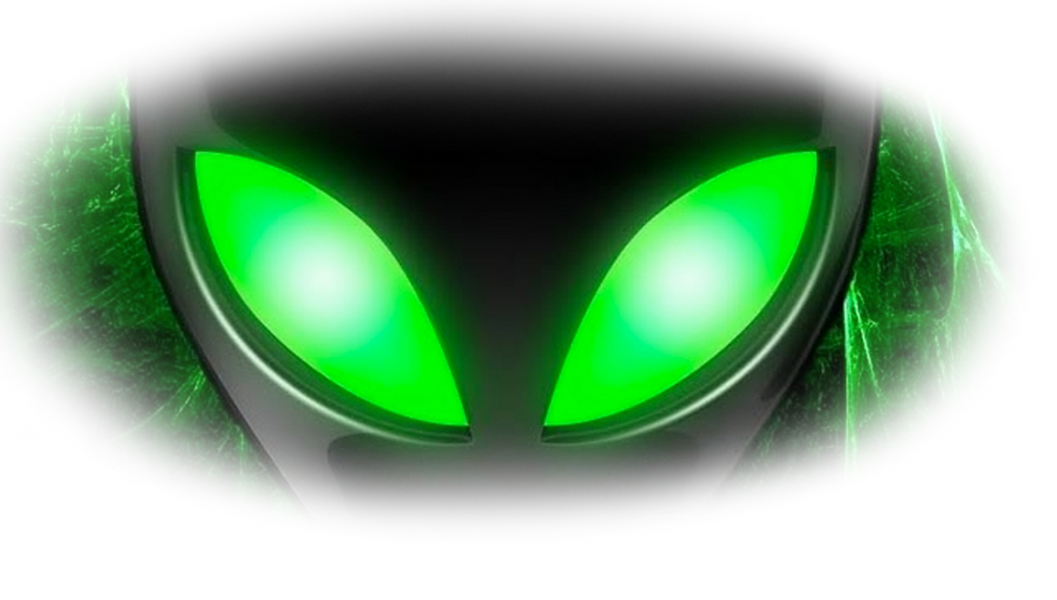 Original painting of green alien eyes as a background for Darkstars Creation.