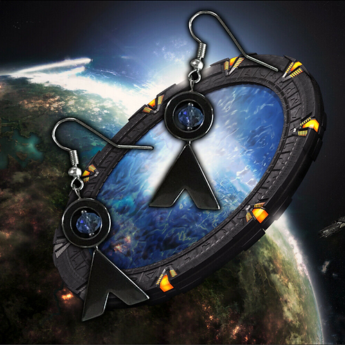 Stargate Home Symbol, Point of Origin - Natural Hematite and Crystal Earrings
