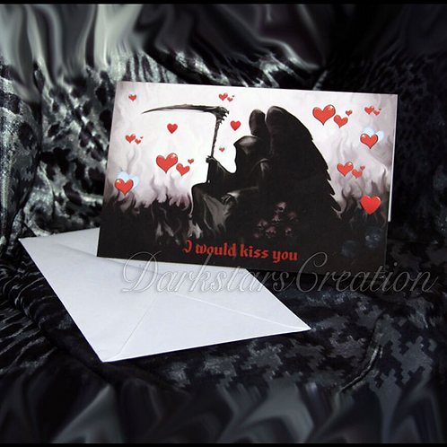 A Kiss From Death Fun & Funny Friendship or Awesome Grim Reaper Anniversary Card