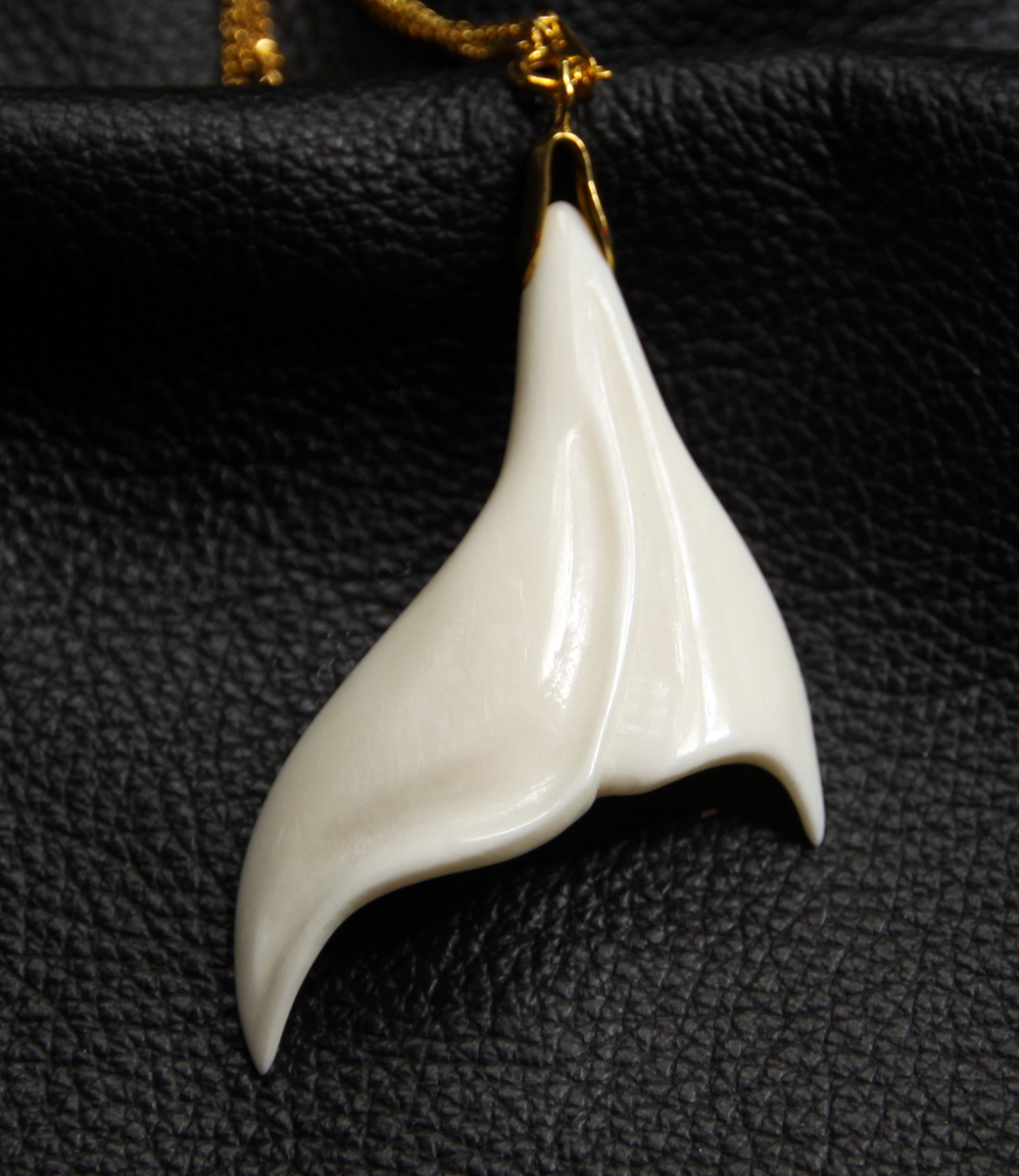 Bison bone earring