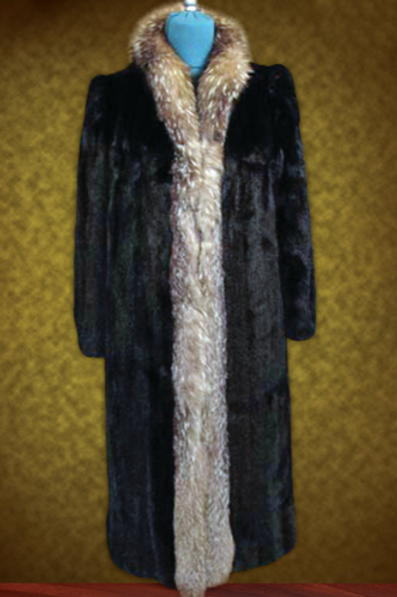 Gorgeous Full Length Coat - Mink & Crystal Fox Fur -Luxury Winter Coat