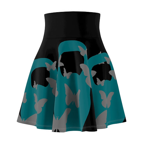 Kettlebell aquamarine butterfly Women's Skater Skirt 2 - black