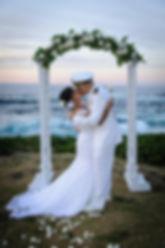 white wedding arch for san diego beach wedding