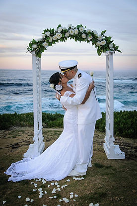 white wedding arch for san diego beach wedding