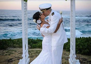 elope to san diego white wedding arch