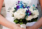 white rose and turquoise orchid bouquet