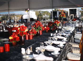 black and red florals for San Diego wedding reception