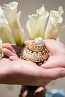 seashell hands and white calla lily