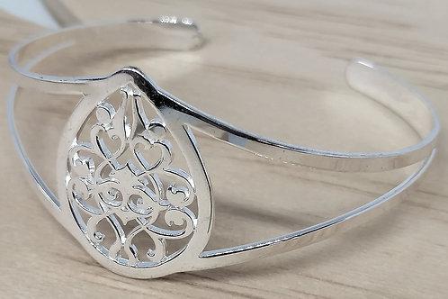 Bracelet manchette repercée en argent 925/1000