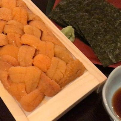 Sea urchin sashimi.