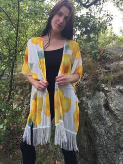 Fringe Vest Floral Yellow