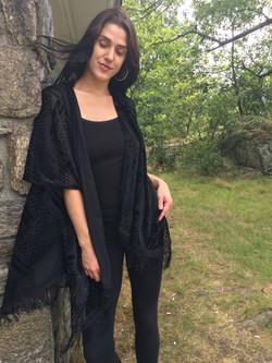 Velvet Fringe Vest Black