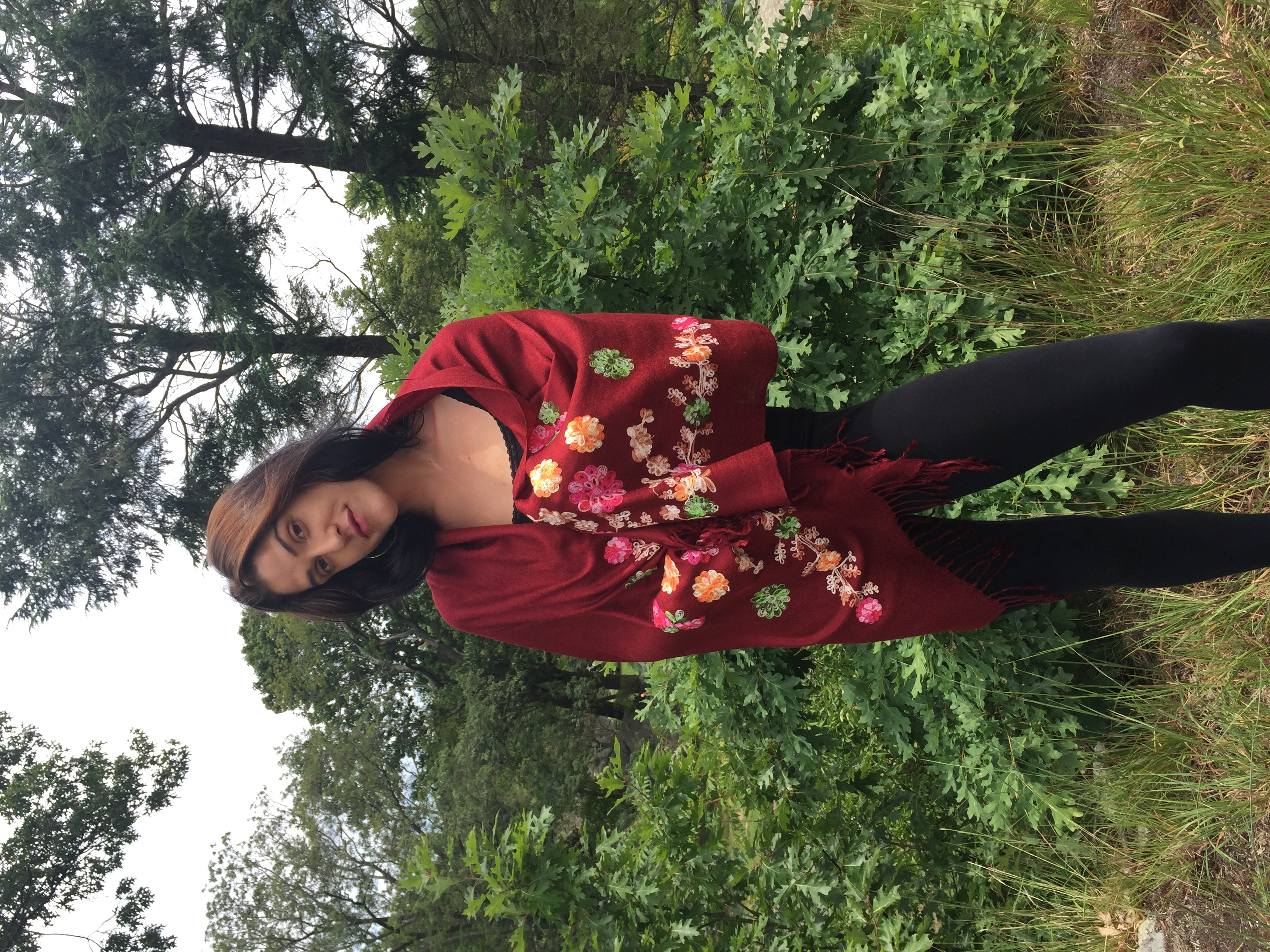 Embroidered Shawl Red