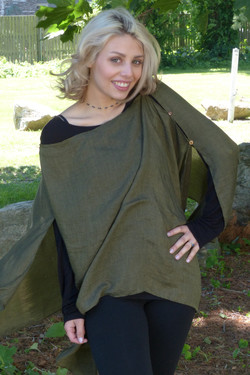 Solid Button Tunic: Linen Feel