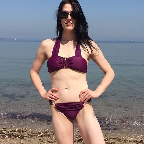 Solid Swim Suit w/ Metal Accents