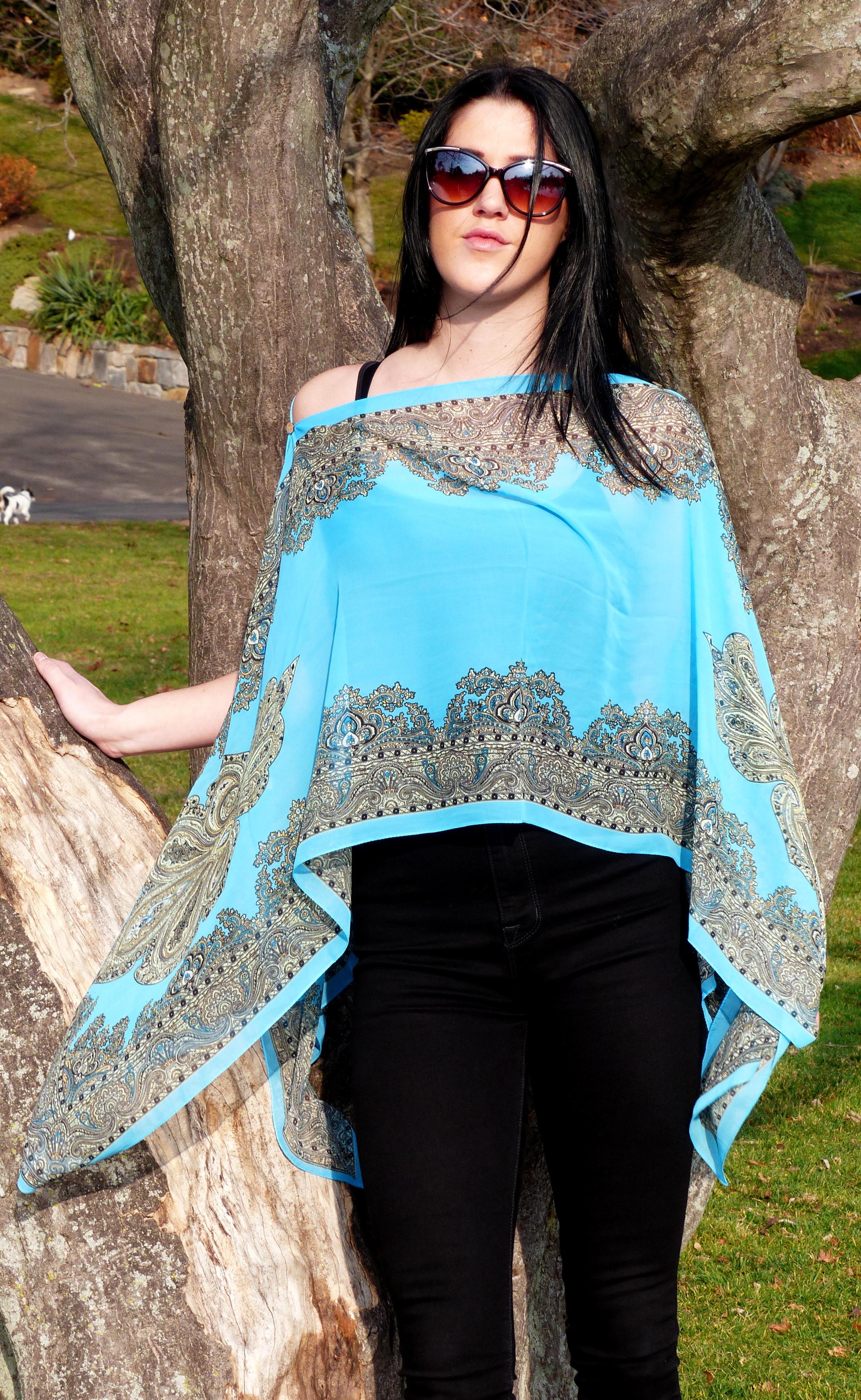 Button Tunic Damask Blue
