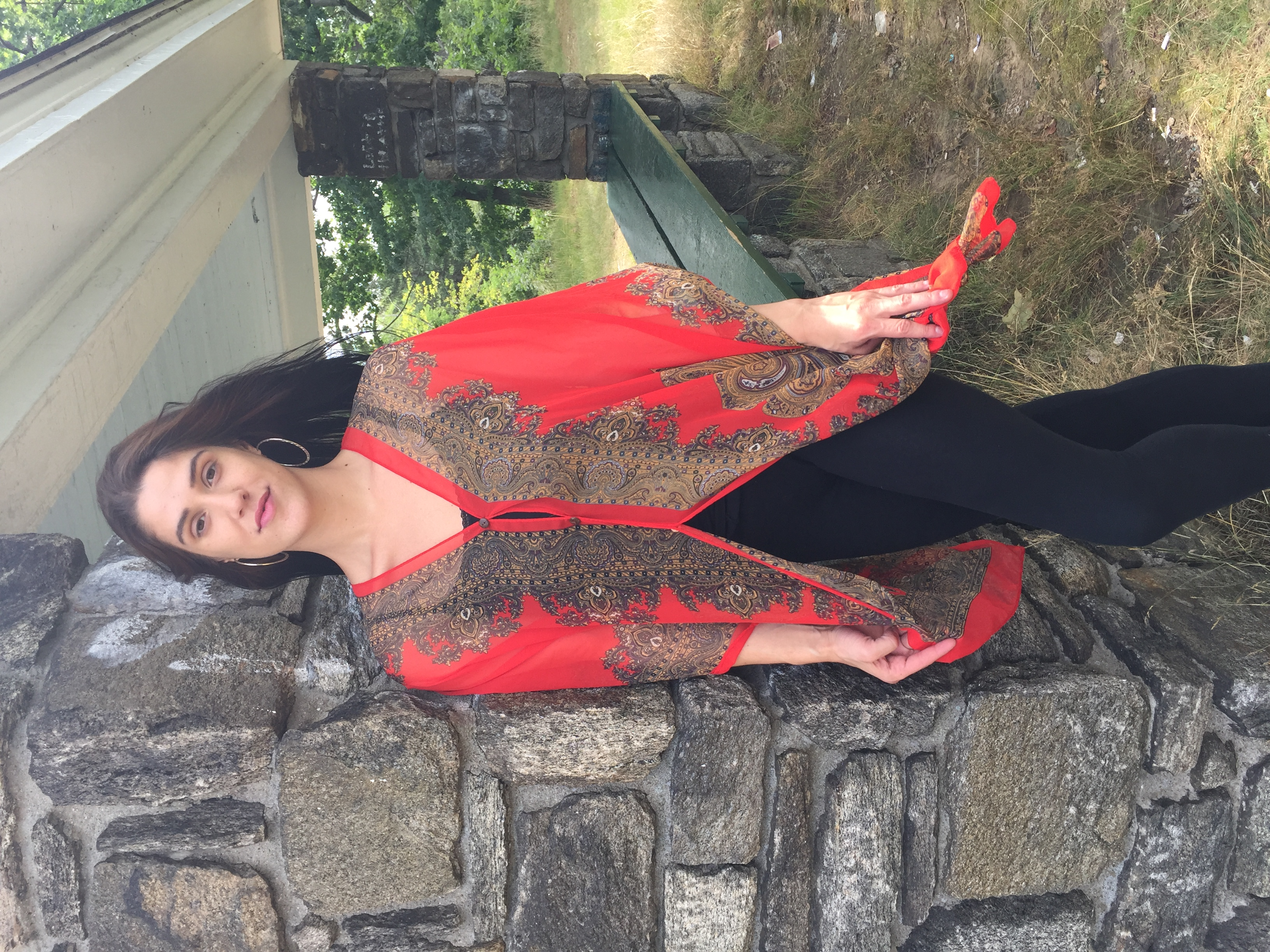 Damask Button Tunic Red