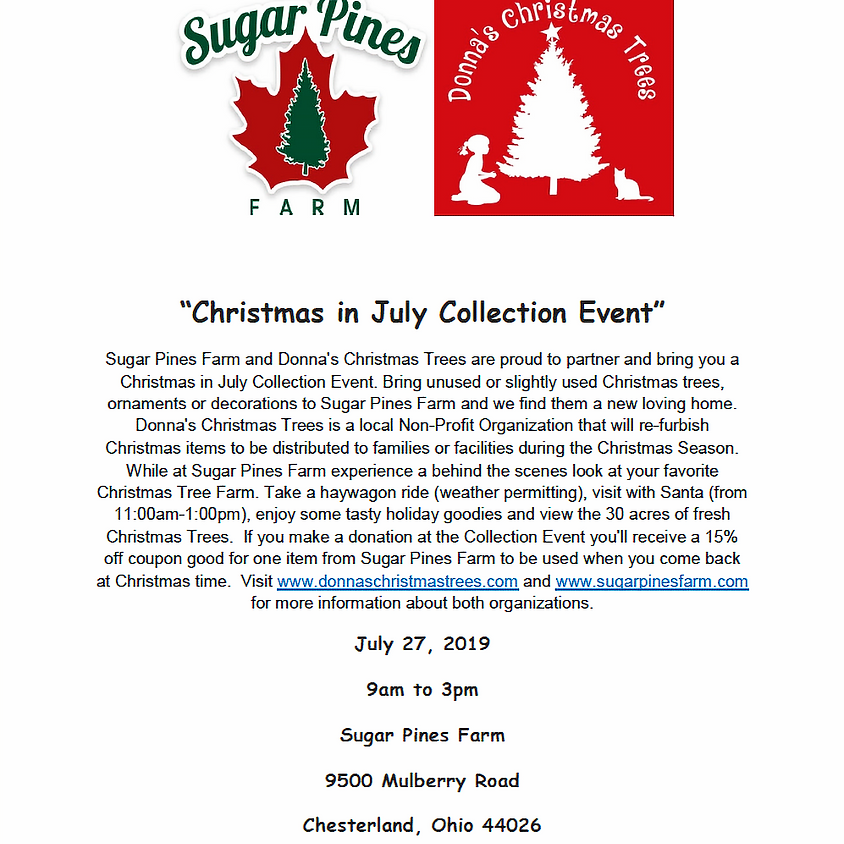 Christmas in July Collection Event