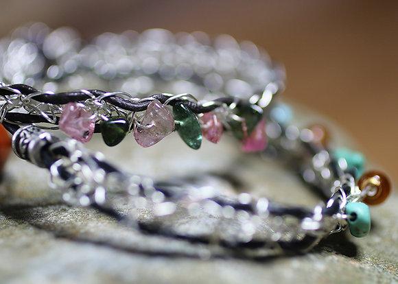 Crocheted Silver, Leather & Tourmaline Bracelet