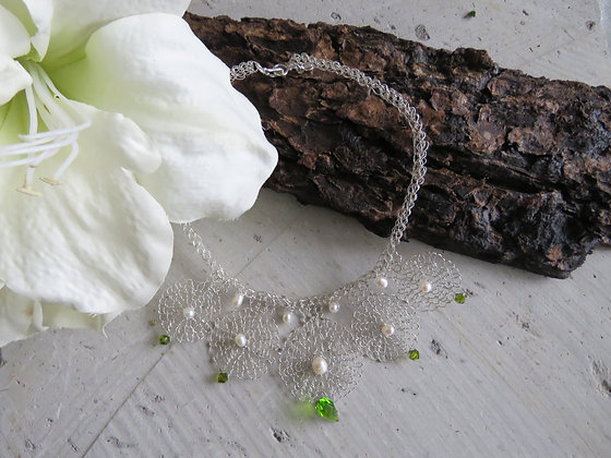 5 Mandala Pearl & Swarovski Crystal Wedding Choker