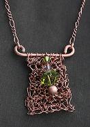 Crochet Copper & Green Swarovski Crystal Necklace