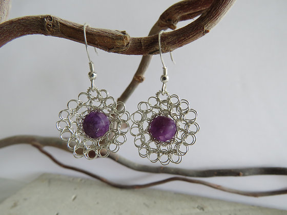 La Petite Fleur Earrings with Purple Mica Gemstones