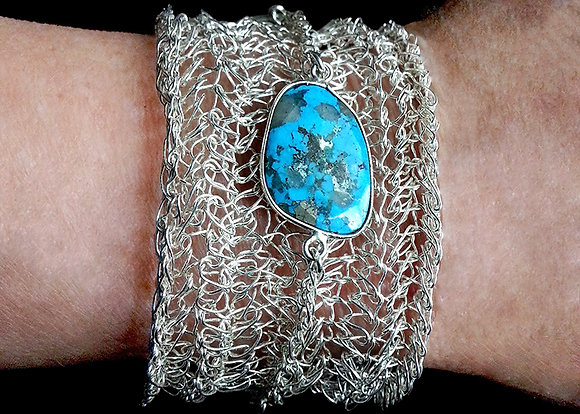 Crocheted Silver Wire & Turquoise Cuff Bracelet