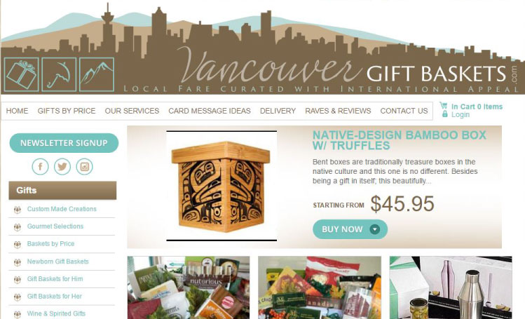 VancouverGiftBaskets website