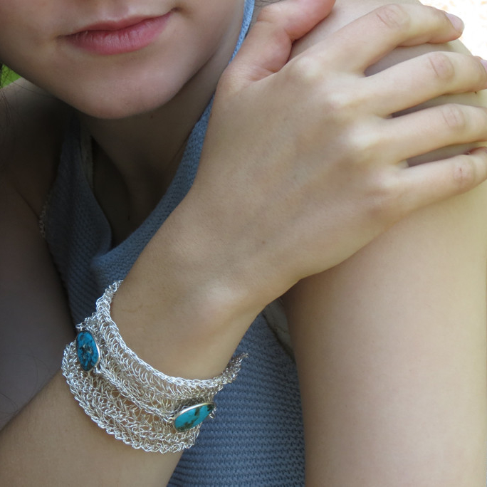 Crocheted Silver Turquoise Bracelet