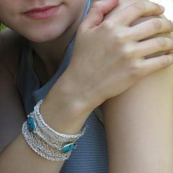 Crocheted Silver Turquoise Bracelet