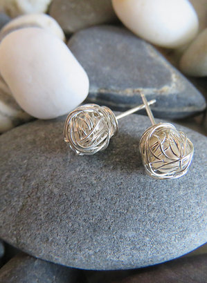 Silver Wrapped Rose Earrings