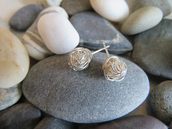 Silver Wrapped Rose Earrings