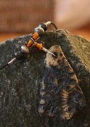 Onyx Porcelain Necklace with Orange & Black Beads