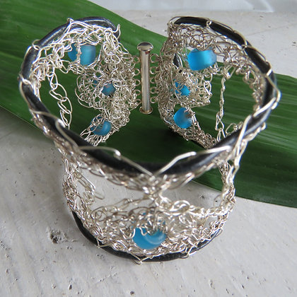 Crocheted Silver and Leather Cuff