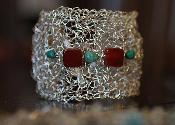 Crocheted Silver Wire Carnelian Turquoise Bracelet