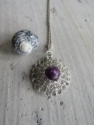 La Petite Fleur Necklace with Purple Mica Gemstone