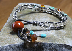 Crocheted Silver, Leather & Turquoise Bracelet