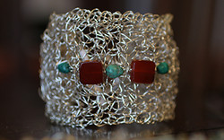 Crocheted Silver Cuff with Gemtsones