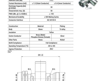W0100001-V01 | RF Surge Protector 1/4λ (Wavelength) | DIN 7/16 Female – DIN 7/16 Male | 800-2700