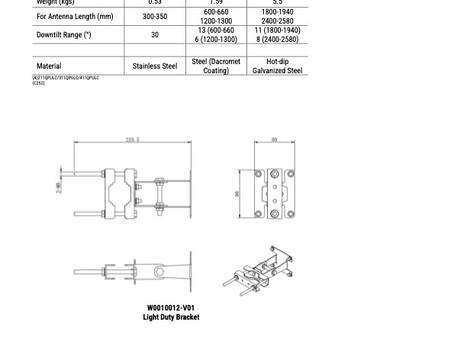 W0010012-V01/ W0010013-V01 / W0010014-V01| Mounting Bracket for Directional Panel Antenna | Kantenna
