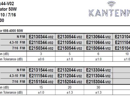 Attenuator / dempeledd | 698-4000 50W | N / 4.3-10 / 7/16 | fra Kantenna.