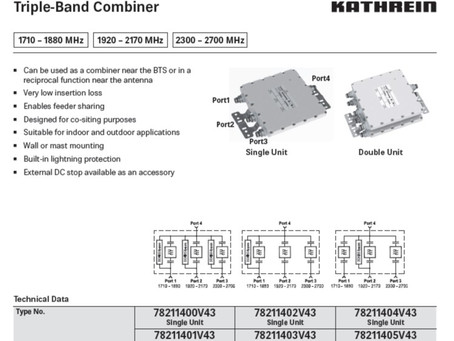 Triple-Band Combiner | 1710 – 1880 MHz | 1920 – 2170 MHz | 2300 – 2700 MHz fra Kathrein / Ericsson
